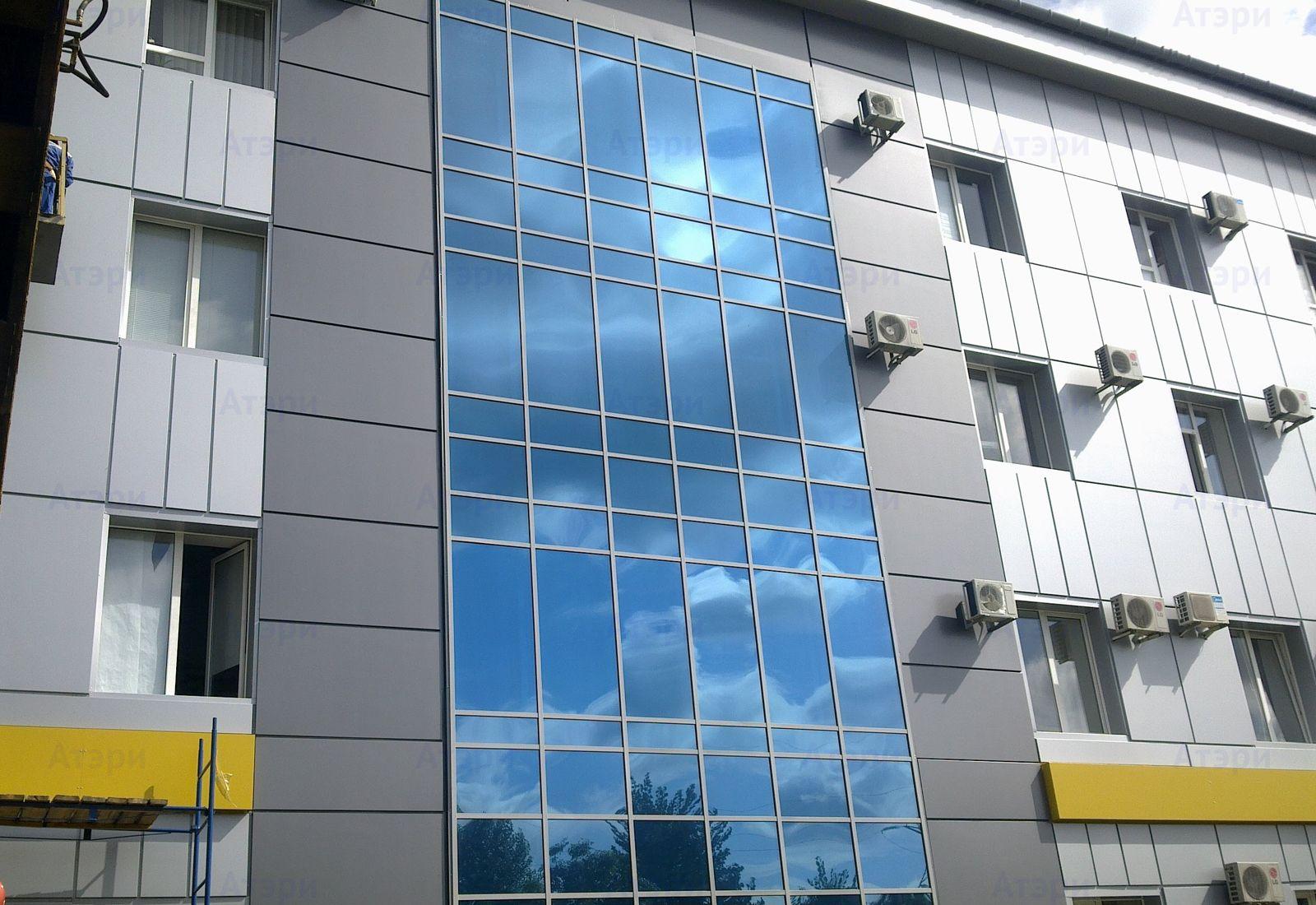 Остекление фасадов с использованием алюминиевого профиля, за.